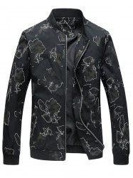 Zip Up Camo Print Jacket