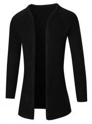Raglan Sleeve Open Front Plain Cardigan - BLACK