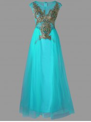 A Line Sleeveless Tull Floor Length Dress - CYAN