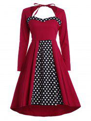 Polka Dot Plus Size Asymmetric Vintage Dress