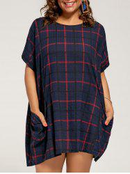 Checked Plus Size Casual Baggy Dress  with Pockets -