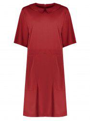 Collared Plus Size A Line Dress with Pockets - RED 6XL