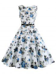 Floral Print Plus Size Vintage Swing Dress with Belt