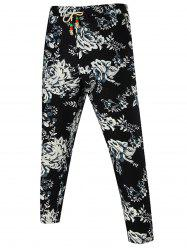 Wood Bead Drawstring Floral Pants
