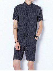 Half Button Up Drawstring Striped Romper - BLACK