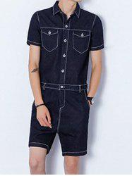 Half Button Up Back Zip Denim Romper - BLACK L