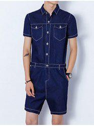 Half Button Up Back Zip Denim Romper