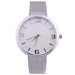 Mesh Alloy Band Number Analog Watch