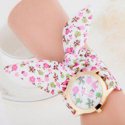 Floral Cloth Strap Number Analog Watch