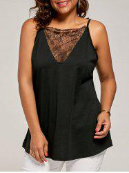 Plus Size Eyelash Lace Spaghetti Strap Tank Top