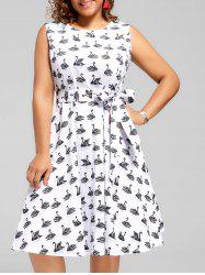 Swan Print Plus Size Vintage Dress