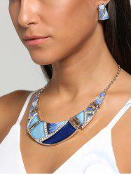 Boho Geometrical Spliced Faux Gem Necklace Set