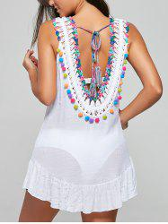Sleeveless Fringe Backless Cover-Up Dress