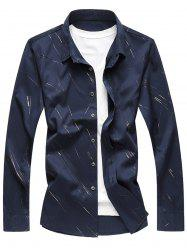 Button Up Long Sleeve Casual Shirt - CADETBLUE L