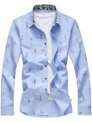 Crisscross Printed Long Sleeve Shirt