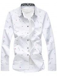 Arrow Print Button Long Sleeve Shirt - WHITE 4XL