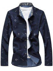 Arrow Print Button Long Sleeve Shirt -