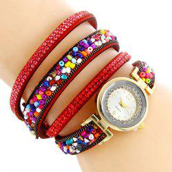 Rhinestone Beaded Faux Leather Quartz Bracelet Watch