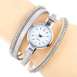 Faux Leather Strap Rhinestoned Bracelet Watch - WHITE