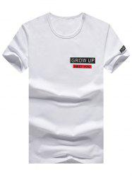 Short Sleeve Grow Up Print Graphic Tee - WHITE XL