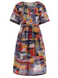 Plus Size Graffiti Printed Casual Dress with Pockets -