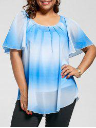 Plus Size Ombre Blouse with Cami Top