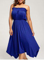 Plus Size Crinkle Tube Sleeveless Evening Dress