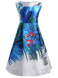 Floral Tropical Plus Size Retro Dress with Pockets -