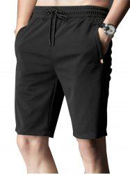 Zipper Pocket Stripe Trim Shorts à cordons - Noir