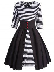 Plus Size High Waist Stripe Vintage Flare Dress