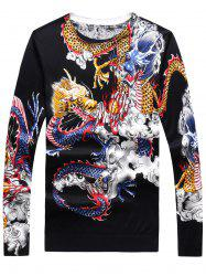 Crew Neck 3D Dragons Print Long Sleeve Sweater