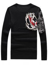 Long Sleeve 3D Fish and Flower Print Sweater