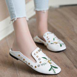 Studded Embroidery Flat Shoes