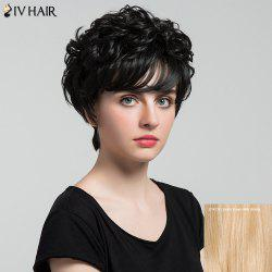 Siv Hair Short Oblique Bang Shaggy Curly Layered Hair Hair Wig - 27/613# Brown d'Or avec  Blonde
