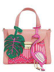 Sac à main en cuir PU Monstera Leaf et Flamingo - ROSE Pu00c2LE