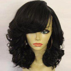 Medium Side Parting Shaggy Curly Synthetic Wig - BLACK