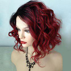 Short Side Bang Shaggy Wavy Ombre Synthetic Wig - BLACK AND RED