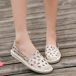 Flower Hollow Out Slip On Shoes - Blanc
