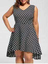 Polka Dot Plus Size Robe Low Hem Hem