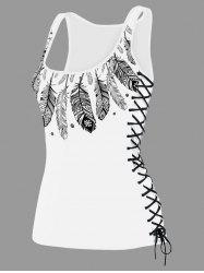 U Neck Feather Print Lace Up Tank Top - WHITE
