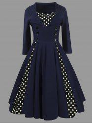 Knee Length A Line Polka Dot Vintage Dress