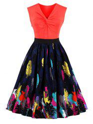 Leaves Print Front Knot Vintage Skater Dress - ORANGE RED