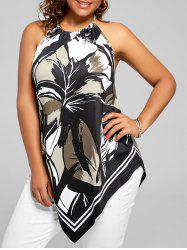 Asymmetric Halter Printed Plus Size Top - BLACK