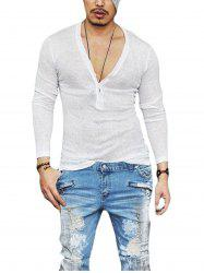 Buttons Design V Neck Long Sleeve T-shirt - WHITE
