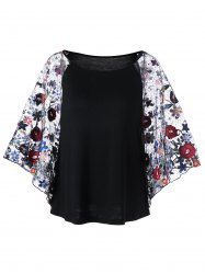 Embroidery Batwing Sleeve Sheer Blouse