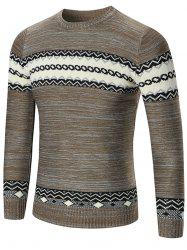 Space Dyed Crew Neck Geometric Sweater - KHAKI M