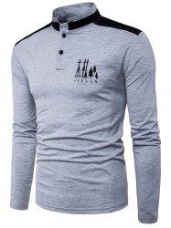 Long Sleeve Color Block Panel Graphic Embroidered T-shirt