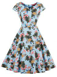 Vintage Pineapple Print Skater Dress -
