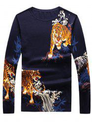 3D Tigers Print Crew Neck Long Sleeve Sweater