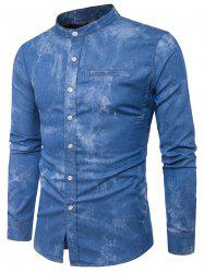 Long Sleeve Edging Tie Dye Denim Shirt - BLUE L